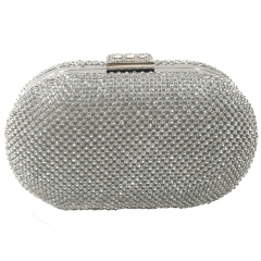 Hard Case Rhinestone Covered Clutch Silver