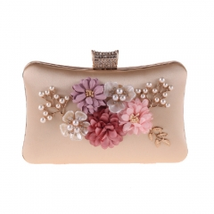 Pearl Jewelry Flower Décor Evening Clutch Champagne