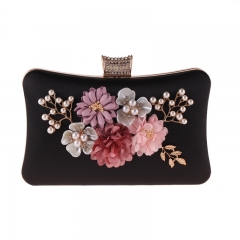Pearl Jewelry Flower Décor Evening Clutch Black