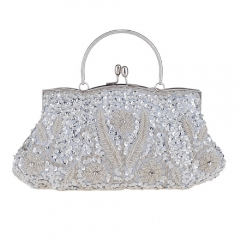 Beaded Sequins Sparkle Clutch Tote Bag Silver