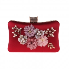 Pearl Jewelry Flower Décor Evening Clutch Red