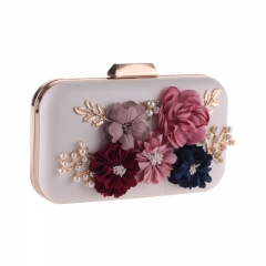 Flower Décor Clutch with Jewelry Beige