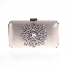 Metallic PU Leather Clutch Crystal Rhinestone Jewelry Décor Gold