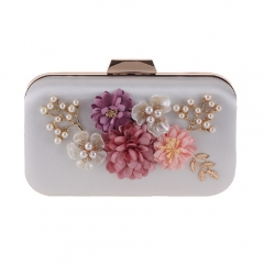 Hard Case Pearl Jewelry Flower Décor Evening Clutch Milk White
