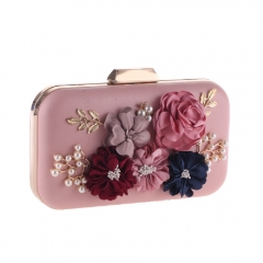 Flower Décor Clutch with Jewelry Pink