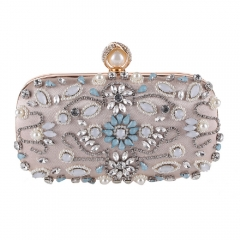 Beaded Rhinestone Decorated Evening Clutch Handbag