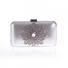 Metallic PU Leather Clutch Crystal Rhinestone Jewelry Décor Silver
