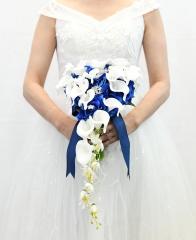 Cascading Bride Bouquet - Lily Rhinestone Jewelry Brooches and Satin Ribbon Décor (Royal Blue)