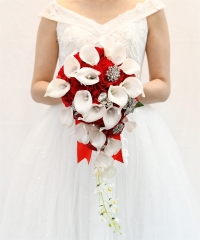 Cascading Bride Bouquet - Lily Rhinestone Jewelry Brooches and Satin Ribbon Décor (Red)