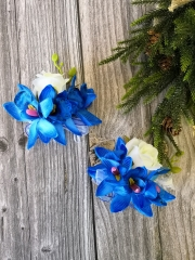 Wedding (Prom) Corsage Boutonniere Set Rose Lily Pin Wrist Hand Dress Suit Flower (Royal Blue)