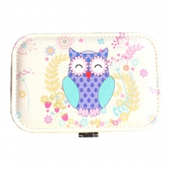 Owl Pattern Travel Jewelry Box Organizer (Purple)