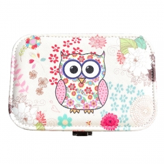 Owl Pattern Travel Jewelry Box Organizer (Pink)