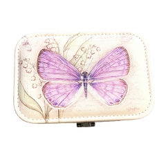 Butterfly Print Jewelry Box Organizer with Mirror (Purple)