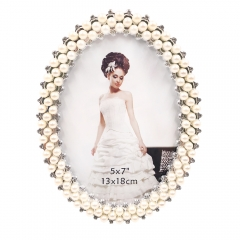 "5x7""8x10""Pearls Decorated Picture Holder Display Anniversary New Year Christams Present for Family New Couple (Silver)"