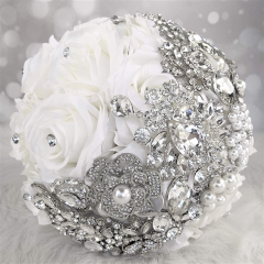 Sparkle Rhinestone Pearls Jewelry Decorated Rose Flowers for Bride (White Rose)