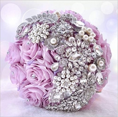 Sparkle Rhinestone Pearls Jewelry Decorated Rose Flowers for Bride (Lavender Rose)