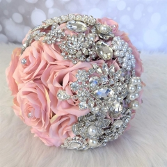 Sparkle Rhinestone Pearls Jewelry Decorated Rose Flowers for Bride (Pink Rose)