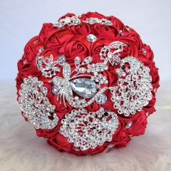 Sparkle Rhinestone Jewelry Bouquet - Satin Rose with Peacock Butterfly Brooches Bride Bridesmaids Wedding Flower (Red, 8 Inch)