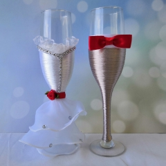 Wedding Champagne Toasting Flute- Rose and Bow Tie Decor
