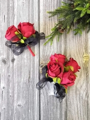 Rose Corsage Boutonniere Set Real Touch Flowers for Party Ball Dancing Wedding with Lace Bow Décor (Red)