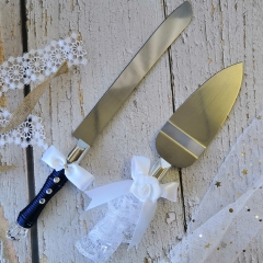 Cake Knife Cutter & Server Set for Wedding Anniversary with Silk Bow Tie