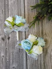 Rose Corsage Boutonniere Set Real Touch Flowers for Party Ball Dancing Wedding with Lace Bow Décor