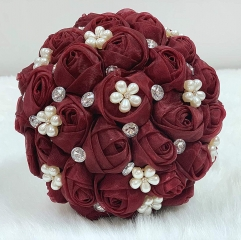 Sparkle Rhinestone Pearl Jewelry Bouquet - Bride Wedding Quinceanera Rose Flower (Burgundy, 7 Inch)