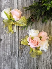 Rose Corsage Boutonniere Set Real Touch Flowers for Party Ball Dancing Wedding with Lace Bow Décor (Pink+Champagne)