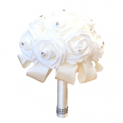 White Rose Bridesmaid Bouquets Wedding Bridal Flower with Rhinestone Jewelry Decoration