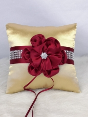 Red Flower Wedding Ring Bearer Pillow