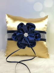 Navy Blue Flower Wedding Ring Bearer Pillow