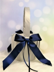 Creamy and Navy Blue Wedding Flower Girl Basket