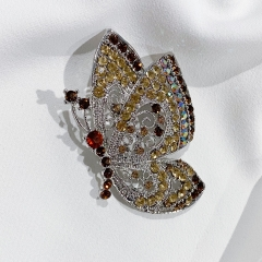 Champagne Vintage Butterfly Brooch For DIY Wedding Bouquet Rhinestones Crystal Scarf Clips