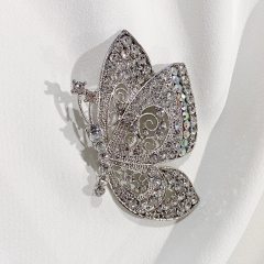 White Vintage Butterfly Brooch For DIY Wedding Bouquet Rhinestones Crystal Scarf Clips