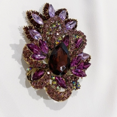 Purple Austrian Crystal Sparkling Imitation of Flowers Brooch for Women Wedding Bouquet