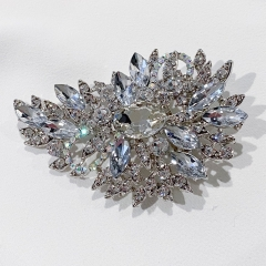 White Vintage Sparkle Rhinestone Crystal Brooch Pin for Sweater Shawl Hat Coat Bouquet