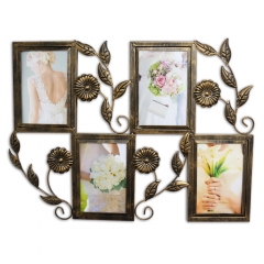 4 Openings Iron Picture Frame Collage with Flower Metal Spray Wall Mounted Home Decoration Photo Holder Display Antique Finish
