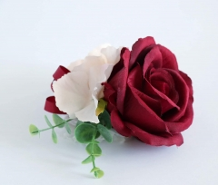 Burgundy White Blooming Rose Real Touch Eucalyptus Wedding Rose Bouquet Bride Bridemaids Groom Groomsman Boutonniere