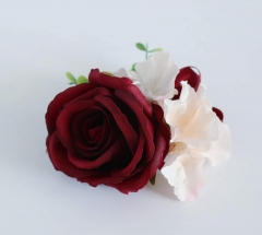 Burgundy White Blooming Rose Real Touch Eucalyptus Wedding Rose Bouquet Bride Bridemaids Groom Groomsman Corsage