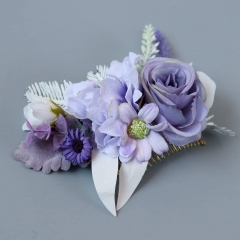 Abbie Home Flower Hair Comb - Floral Boho Comb with Rose Berry Handmade Bridal Crown Wedding Floral Headpiece (Lavender)