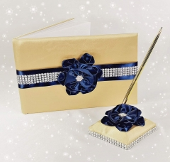 Wedding Guest Book and Pen Set in Gold Satin Cover with Navy Blue Ribbon Flower Rhinestone Decor Luxury Satin Collection Party Favor Set(Navy Blue+Gol