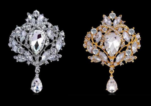 Silver/Gold Crystal Royal Pattern Elegant Brooch Decoration DIY